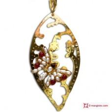 Pendente Foglia con Farfalla [Perle, Agata] in Argento placcato Oro
