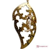 Pendente Foglia con Ippocampo [Perle, Agata] in Argento placcato Oro