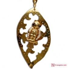 Pendente Foglia con Civetta [Perle, Agata] in Argento placcato Oro