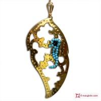 Pendente Foglia con Ippocampo [Turchese, Agata] in Argento placcato Oro
