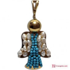 Angel Pendant [Turquoise, Pearls] in Gold Plated Silver