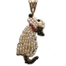 Pendente Cane [Perle, Onice, Granato] in Argento placcato Oro