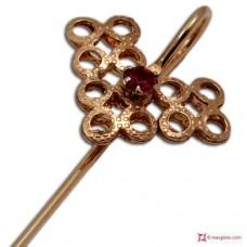 Spilla Vintage Rubino in Argento 925 placcato Oro
