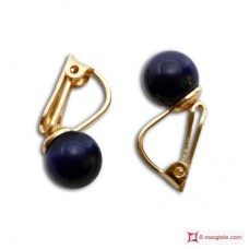 Extra Lapis Earrings 7-7½mm in Gold 18K clip