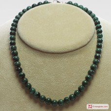 Extra Malachite Necklace 8mm round in Silver