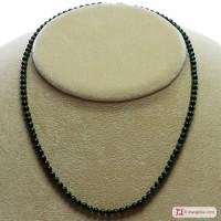 Collana Malachite Extra pallini 4mm in Argento