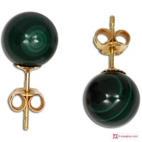 Orecchini Malachite Extra 8mm in Oro 18K