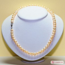 Collana Perle rosa patata 8½-9mm in Argento