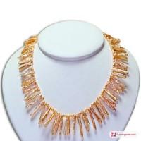 Collana Perle Frange rosa e Biwa in Oro