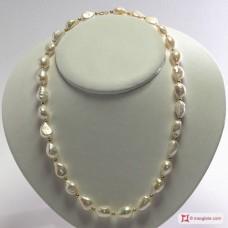 Collana Perle barocche 11-12mm Oro pallini 18Kt