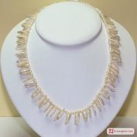 Collana Perle frangia naturali in Argento