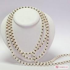 Collana Perle coltivate 8-8½mm ed Ematite L. 2 metri in Argento