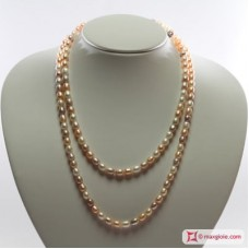 Collana Perle Biwa multicolor TOP 6-6½mm L100 in Oro 18K