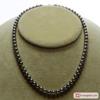 Collana Perle grigio silver TOP 6-6½mm in Oro 18K