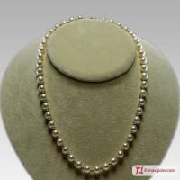 Collana Perle bianche TOP pallini Oro 7-7½mm in Oro 18K