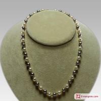 Collana Perle bianco e grigio silver TOP pallini Oro 7-7½mm in Oro 18K