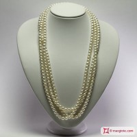 Collana Perle bianche TOP 7-7½mm L200 in Oro 18K