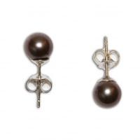 Orecchini Perle grigio 5-5½mm in Oro 18K