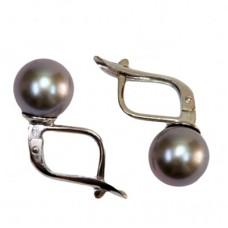 Orecchini Perle Akoya grigio TOP  8-8½mm in Oro 18K m
