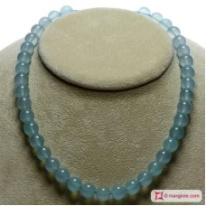 Collana Calcedonio Sea Blue Extra pallini 10mm in Oro 18K