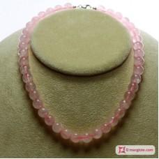 Collana Quarzo rosa Extra pallini 10mm in Argento