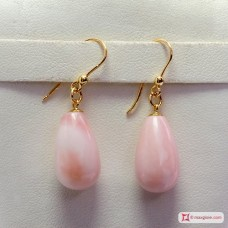 Extra Pink Opal Earrings 10x17mm in Gold 18K