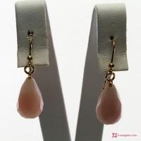 Orecchini Opale rosa Extra 10x17mm faccettato in Oro 18K
