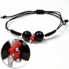 Bracciale Trendy Corallo rosso Perle Agata nera in Argento 925 id01