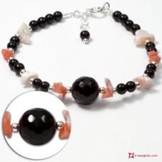 Bracciale Trendy Corallo rosa Perle Agata nera in Argento 925