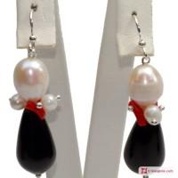 Orecchini Trendy Corallo rosso Perle Agata nera in Argento 925