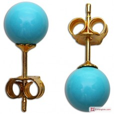 Extra Turquoise Earrings 6mm in Gold 18K