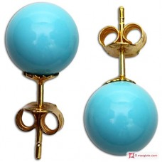 Extra Turquoise Earrings 8mm in Gold 18K