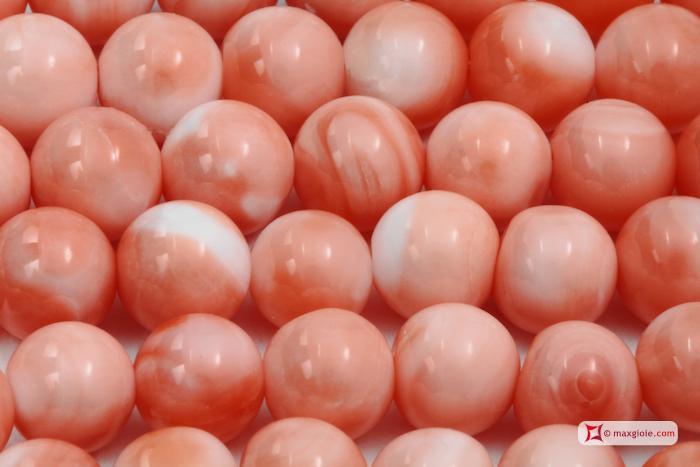 Collana Corallo rosa Extra Dark Color pallini 5mm in Oro 18K-c
